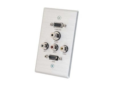 C2G Decorative HDMI, HD15 VGA, RCA Audio Video, 3.5mm Wall Plate, Brushed Aluminum, 41040, 14275611, Premise Wiring Equipment