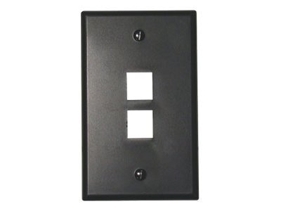 Leviton QuickPort Wallplate, Single Gang, 2-Port, Black, 41080-2EP