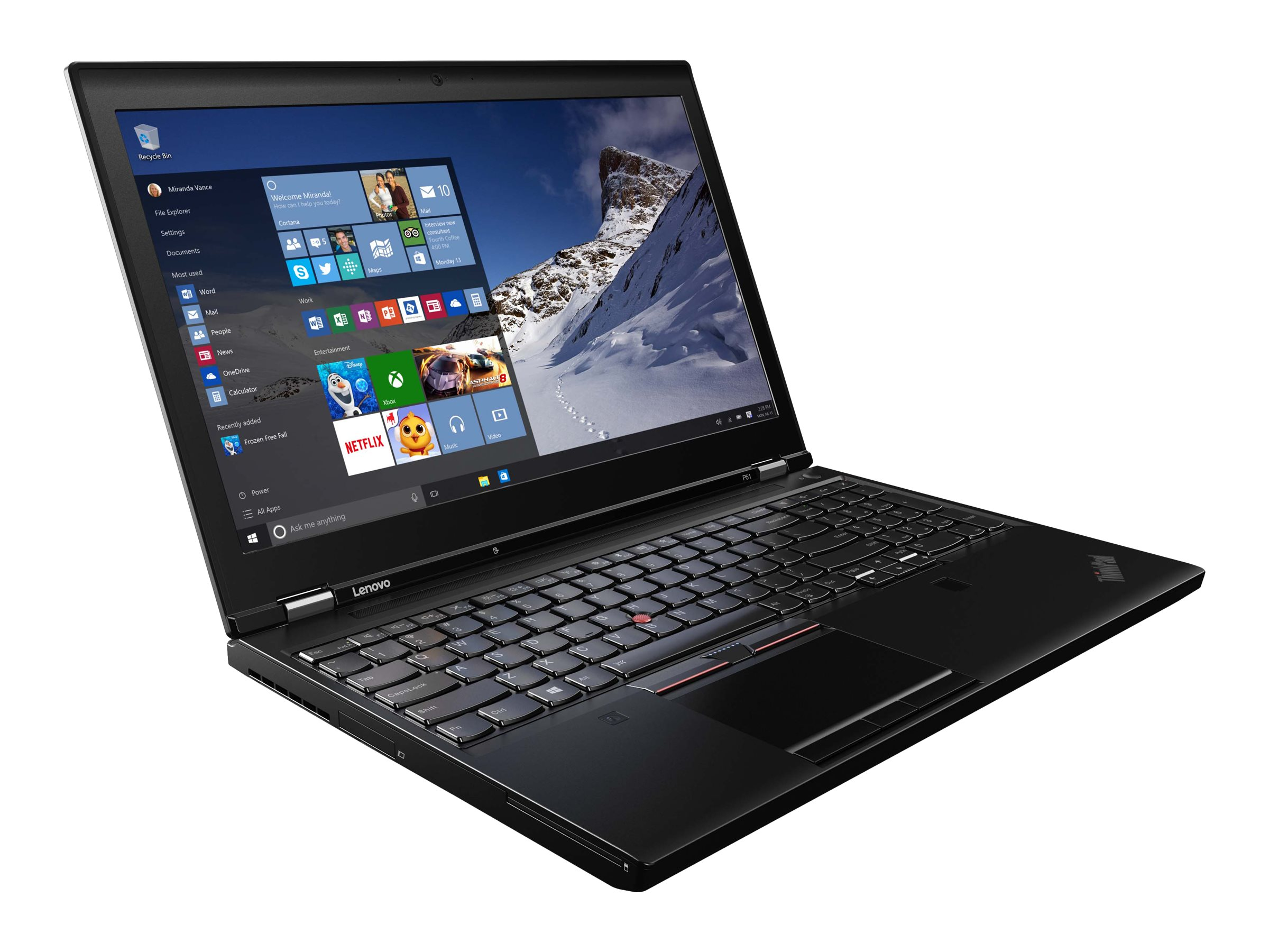 Lenovo TopSeller ThinkPad P51 Core i7-7820HQ 2.9GHz 8GB 512GB PCIe ac BT FR XR M2200M 15.6 FHD MT W10P64