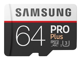 Samsung 64GB Pro Plus MicroSDXC Card with SD Adapter, MB-MD64GA/AM, 33749587, Memory - Flash