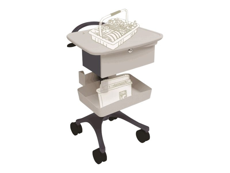 Ergotron Phlebotomy Height Adjustable Cart, Cool Gray
