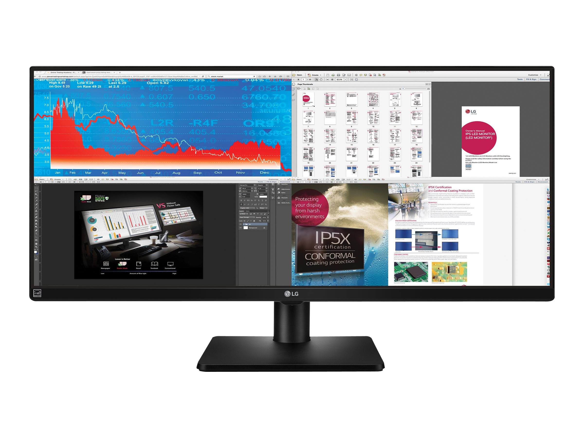 LG 34 UB67-B QHD LED-LCD UltraWide Monitor, Black, 34UB67-B, 18819225, Monitors - Large-Format LED-LCD