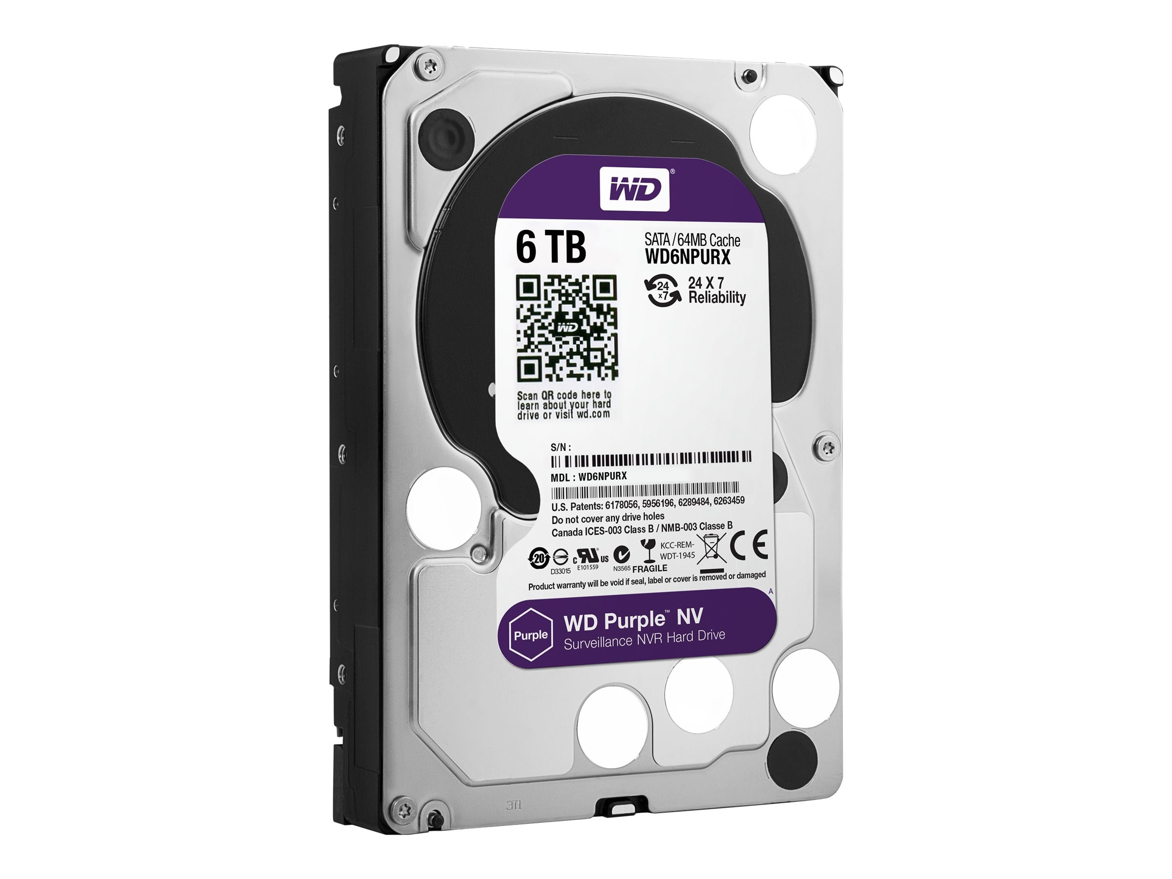 WD 6TB WD Purple NV SATA 6Gb s 3.5 Internal Hard Drive, WD6NPURX