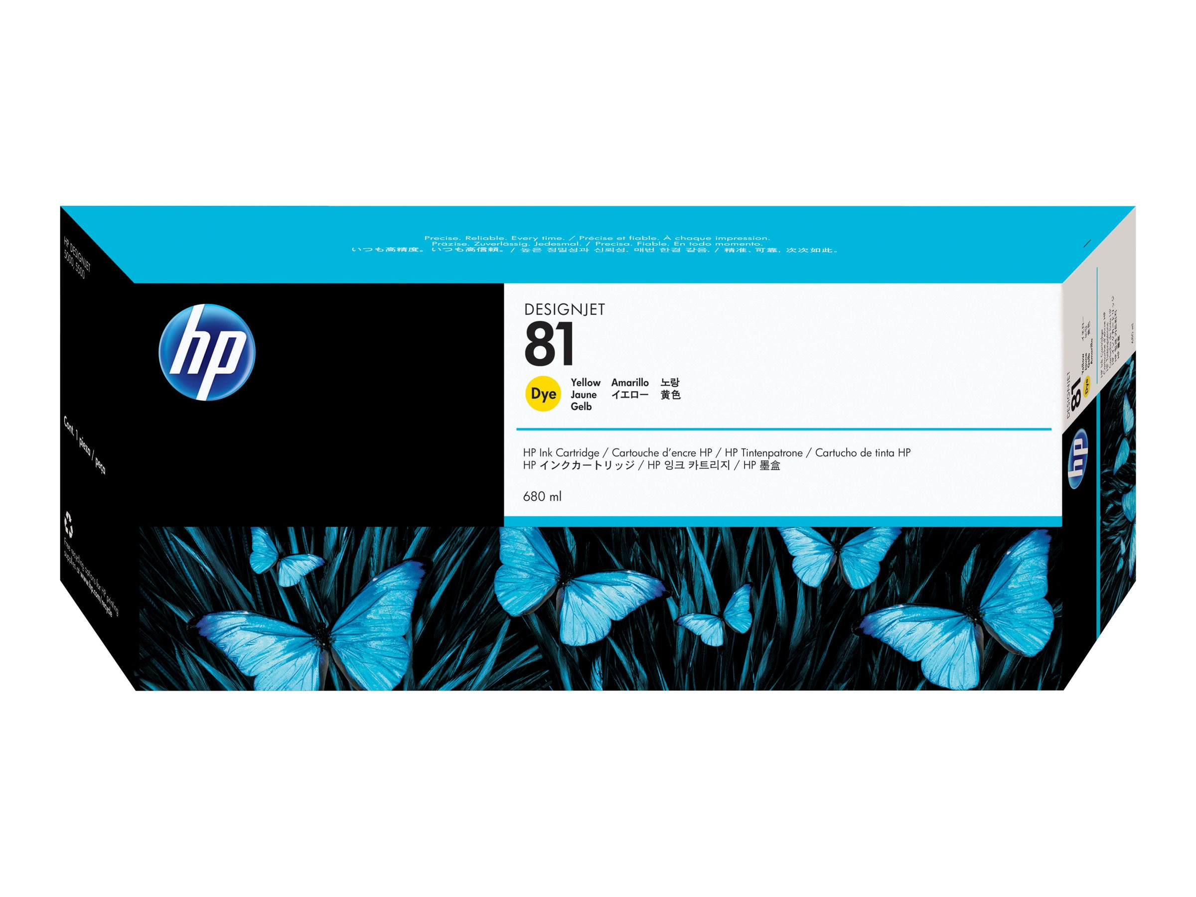HP 81 Yellow Ink Cartridge for DesignJet 5000 5500 Printers, C4933A