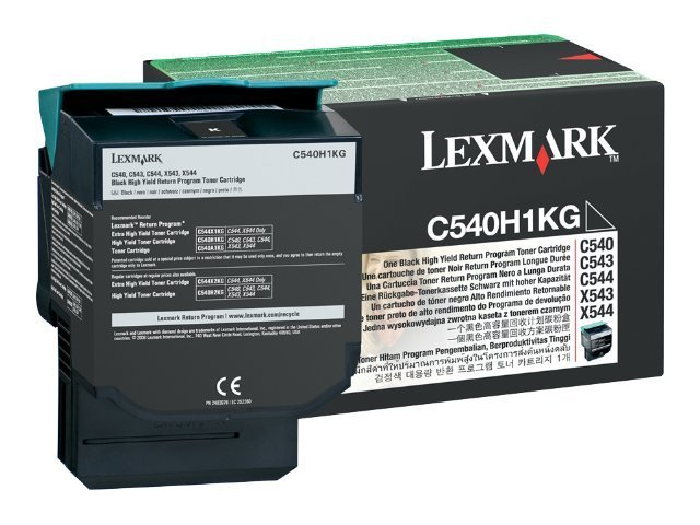 Lexmark Black High Yield Return Program Toner Cartridge for C540 C543 C544 Series Printers & X543 X544 MFPs, C540H1KG