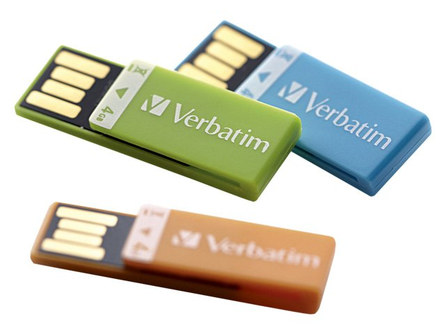 Verbatim 4GB Clip-It USB Flash Drive, 3-Pack, Orange, Blue, Green