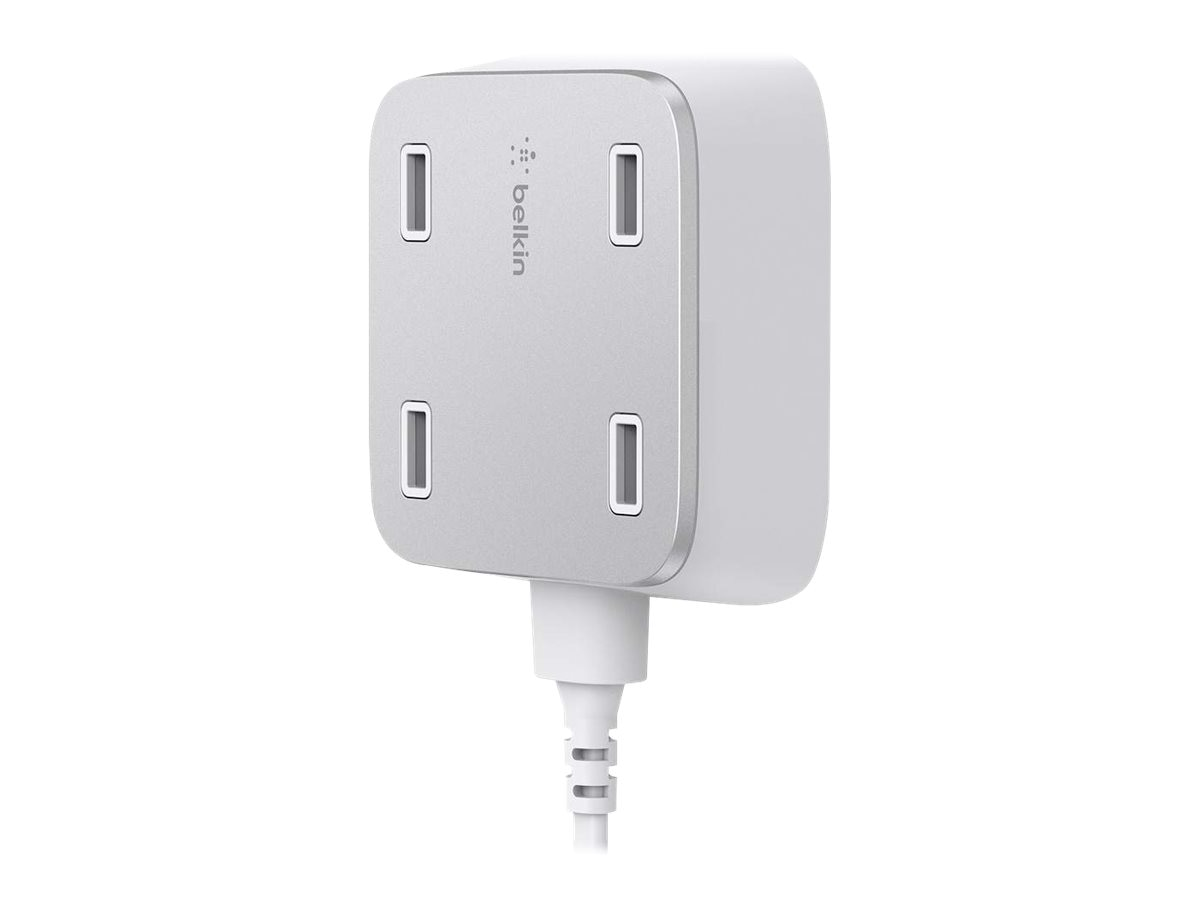 Belkin Family RockStar 4-Port USB Charger with 10ft Cable, White, F8M990TTWHT