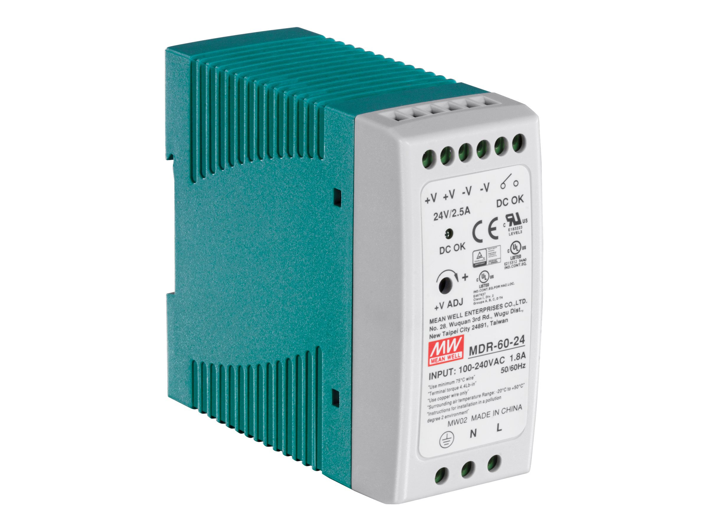 TRENDnet 60W (24V, 2.5A) Single Output Industrial DIN-Rail Power Supply