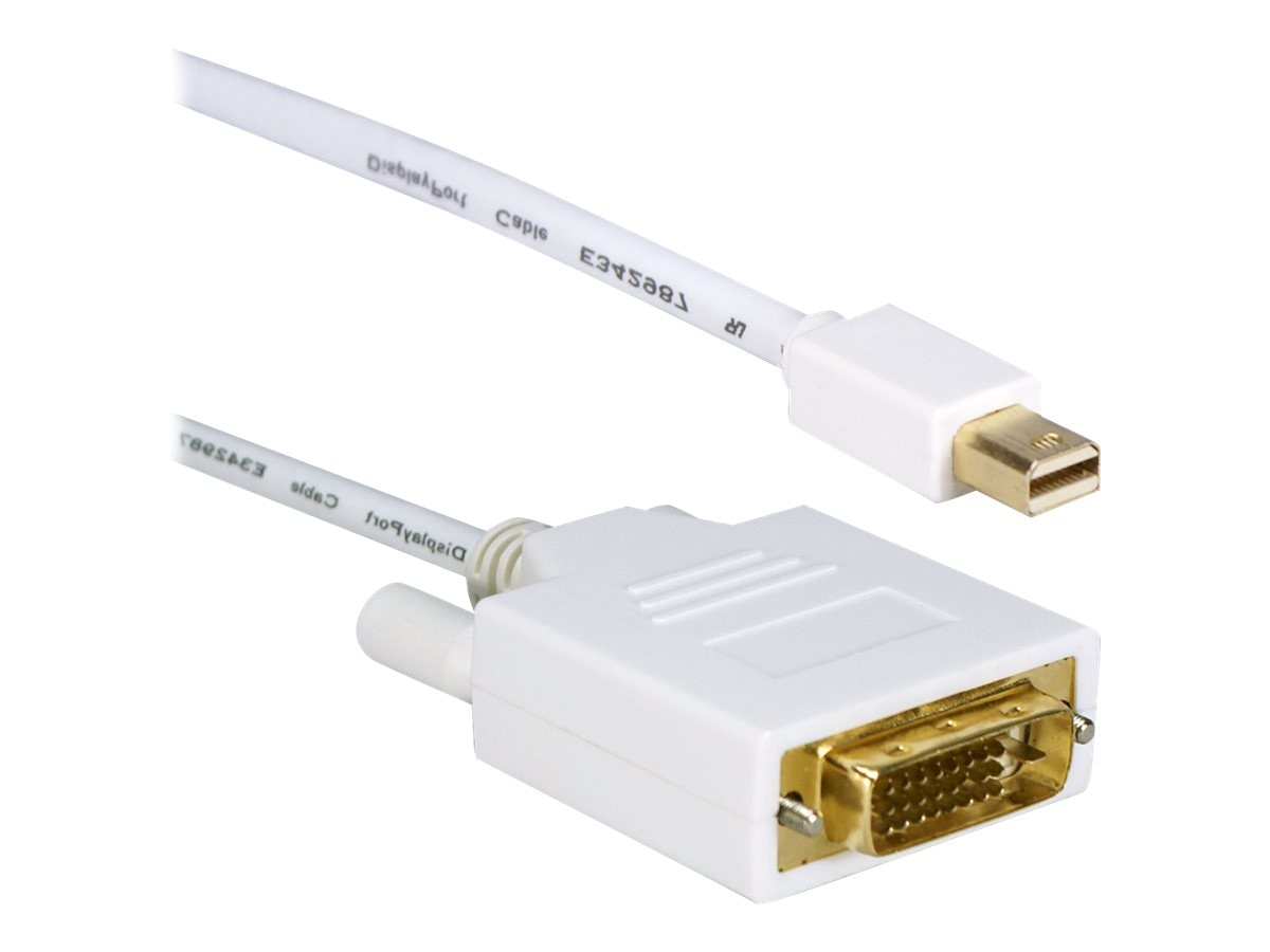 QVS Mini DisplayPort to DVI M M Cable, White, 6ft, MDPDVI-06