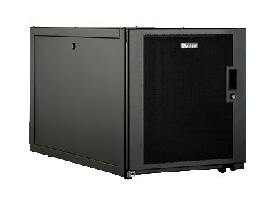 Panduit Enterprise Cabinet, 12U, Single Hinge Perforated Front Rear Doors w  Keyed Swing Handles, Flat Pack