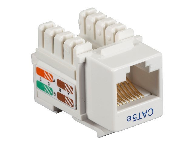 Black Box Cat5e Keystone Jack, White, 25-Pack, CAT5EJ-WH-25PAK, 10898150, Premise Wiring Equipment