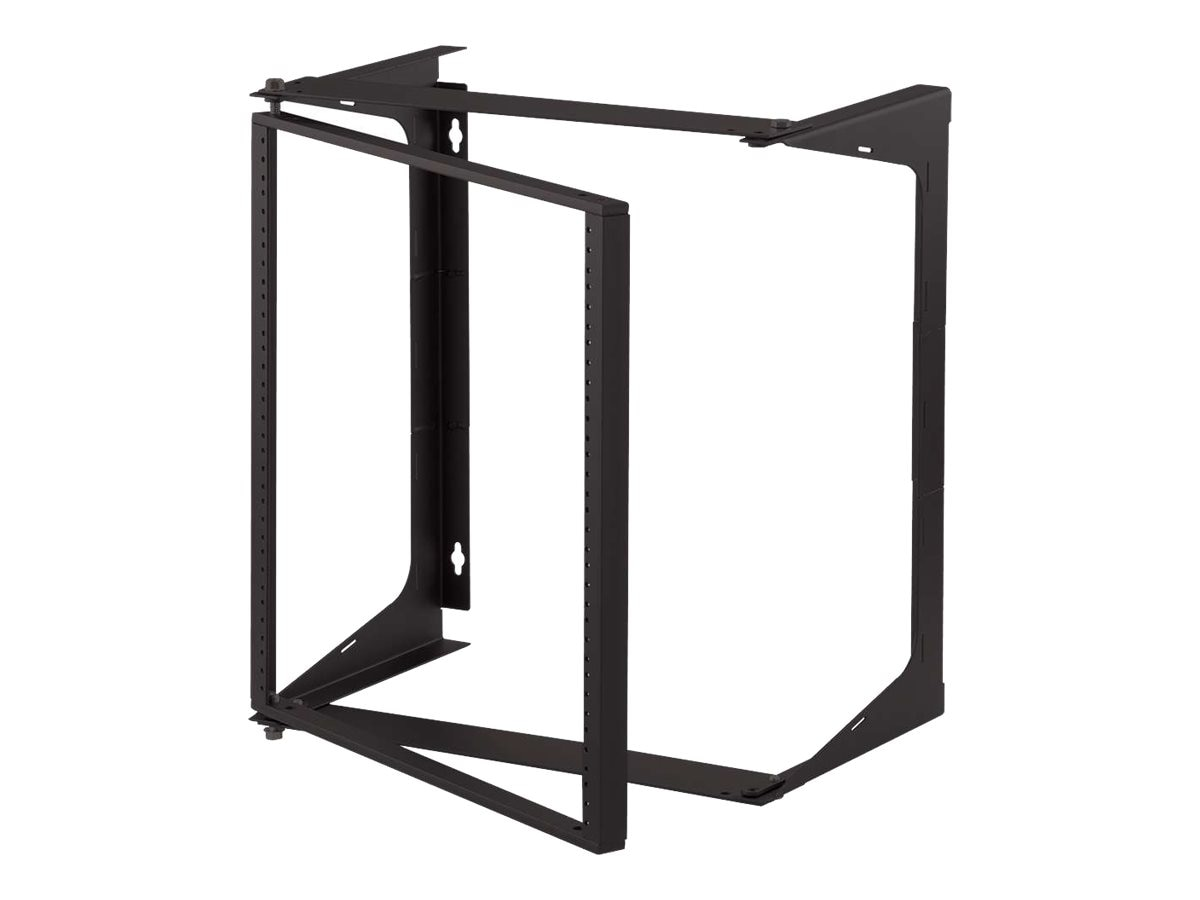 C2G Swing Out Wall Mount Open Frame Rack, 11U x 18d, 75lb Load Rating, Black