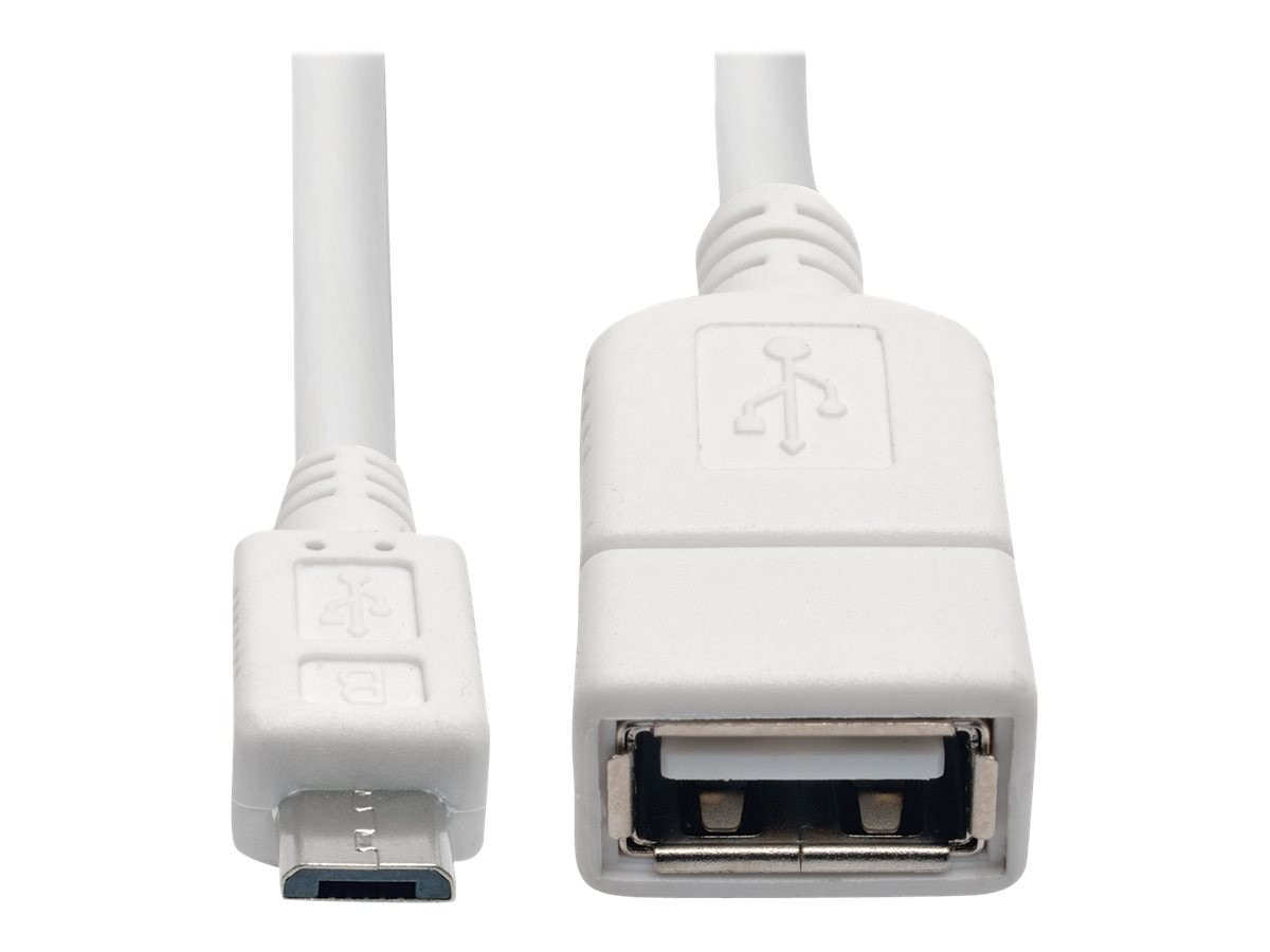 Tripp Lite Micro USB Type B to USB Type A M F Adapter, White, 6, U052-06N-WH