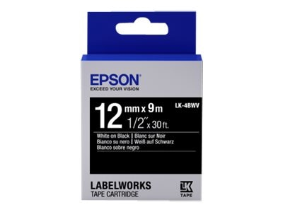 Epson 1 2 LabelWorks Standard LK Tape Cartridge - White on Black, LK-4BWV