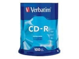 Verbatim 52x 700MB 80min. Branded CD-R Media (100-pack Spindle), 94554, 5206008, CD Media