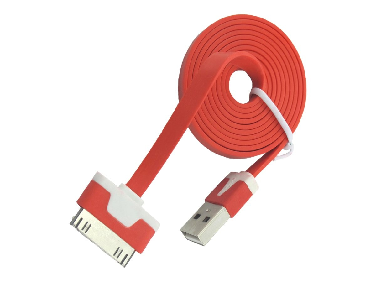 4Xem 30-Pin Dock Connector to USB 2.0 Type A M M Flat Cable, Red, 3ft, 4XI4CBLFLTRD