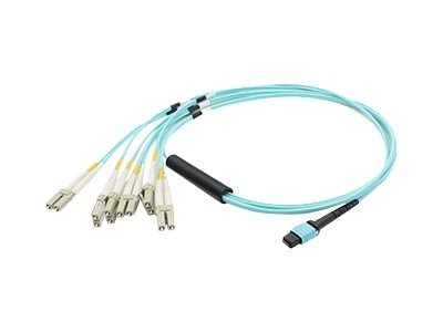 ACP-EP MPO to 6xLC Duplex Fanout OM3 LOMM Patch Cable, Aqua, 30m, ADD-MPO-6LC30M5OM3