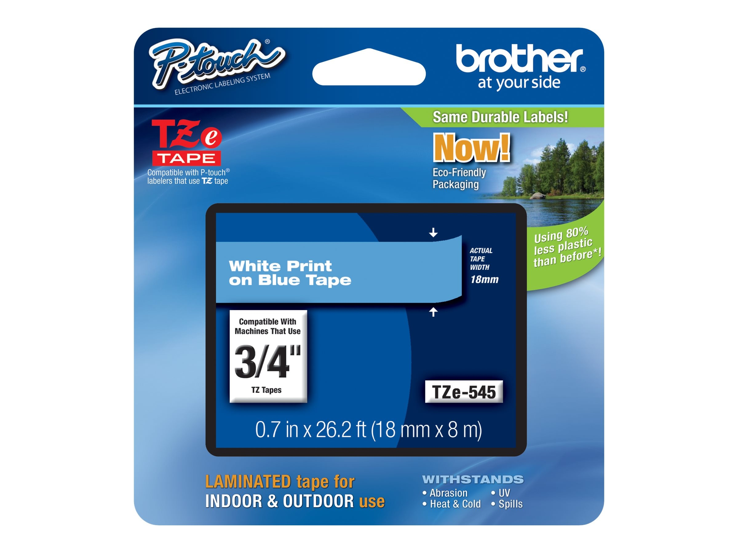Brother 0.7 x 26.2' TZe545 White on Blue Tape for P-Touch