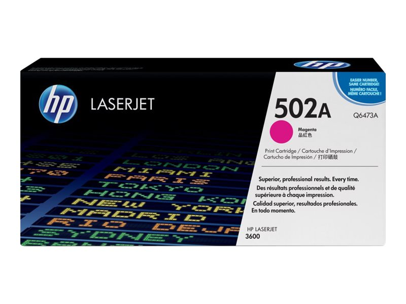 HP 502A (Q6473A) Magenta Original LaserJet Toner Cartridge for HP Color LaserJet 3600 Series