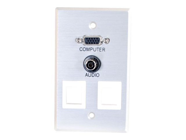 C2G Single Gang HD15 3.5mm (2) Keystone Wall Plate, Brushed Aluminum, 40544, 10535367, Premise Wiring Equipment
