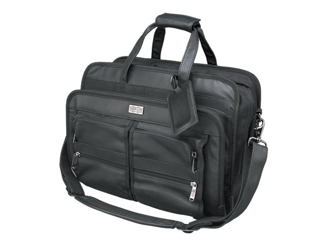 Tripp Lite Corporate Top Load Notebook Case, Leather Nylon, Black, NB1005BK
