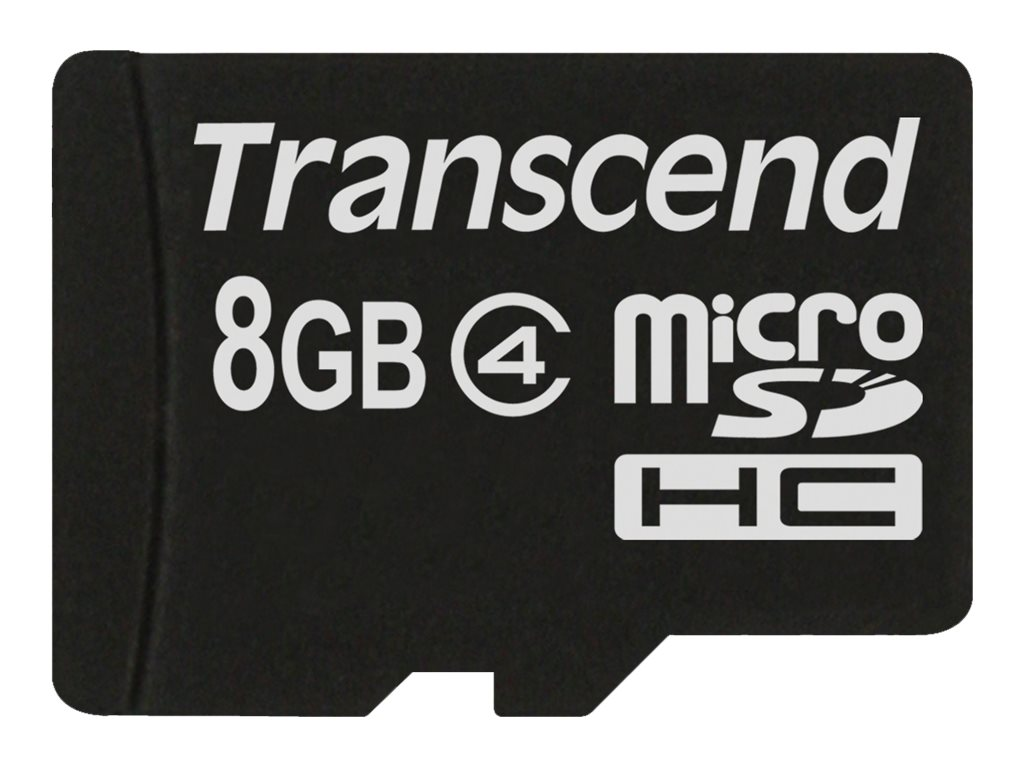 Transcend 8GB MicroSDHC Flash Memory Card, Class 4, TS8GUSDC4