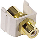 Hubbell RCA Connector, Gold Pass-Through, F F coupler, White Insulator, Office White Housing, SFRCWFF, 7191971, Cable Accessories