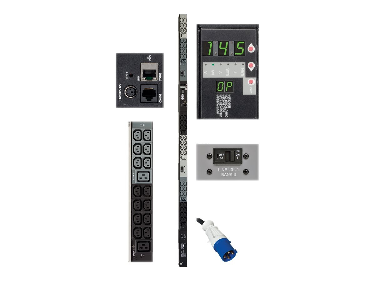 Tripp Lite Monitored PDU 14.5kW 240V 3-phase 0U IEC-309 60A (3P+E) Input 6ft Cord (42) C13 (6) C19 Outlets, TAA, PDU3VN6G60B, 18506798, Power Distribution Units