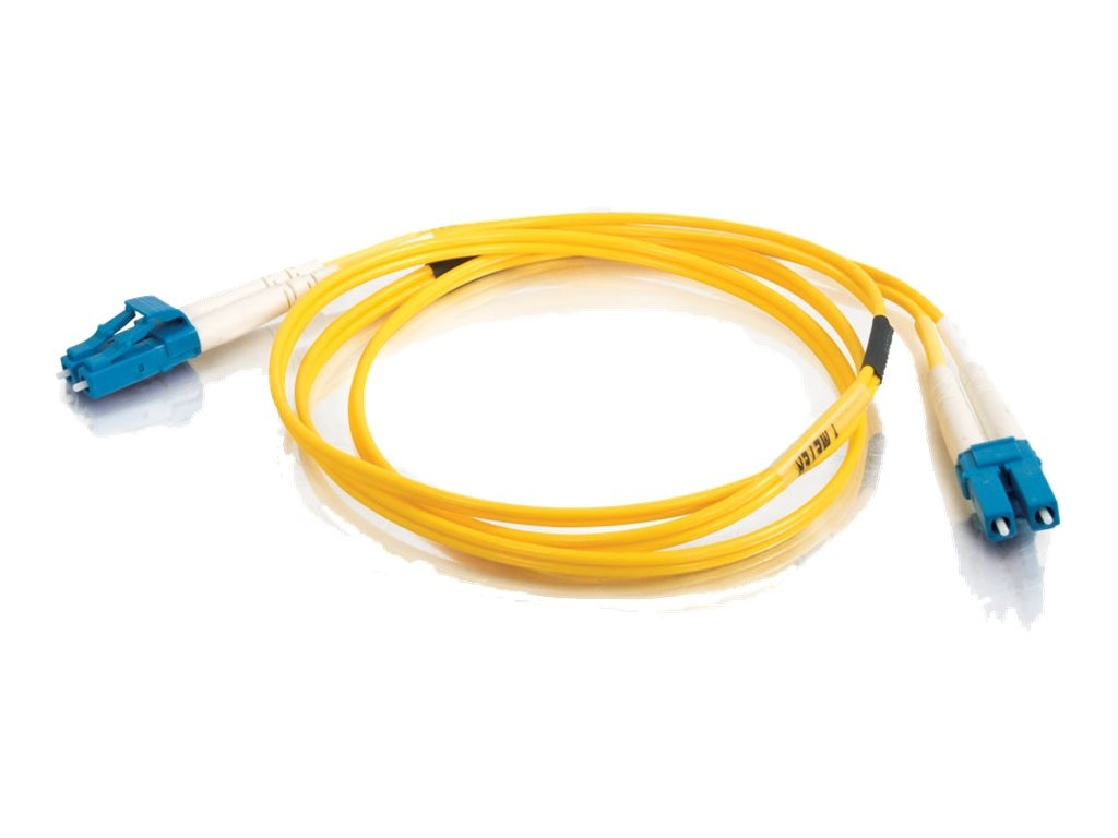 C2G LC-LC 9 125 OS1 Duplex Singlemode PVC Fiber Optic Cable, Yellow, 3m, 28758, 5578451, Cables