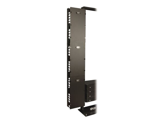 Tripp Lite High Capacity Vertical Cable Manager, Double Finger Duct, Cover, Toolless Mounting, 12W, SRCABLEVRT12, 12948528, Rack Cable Management