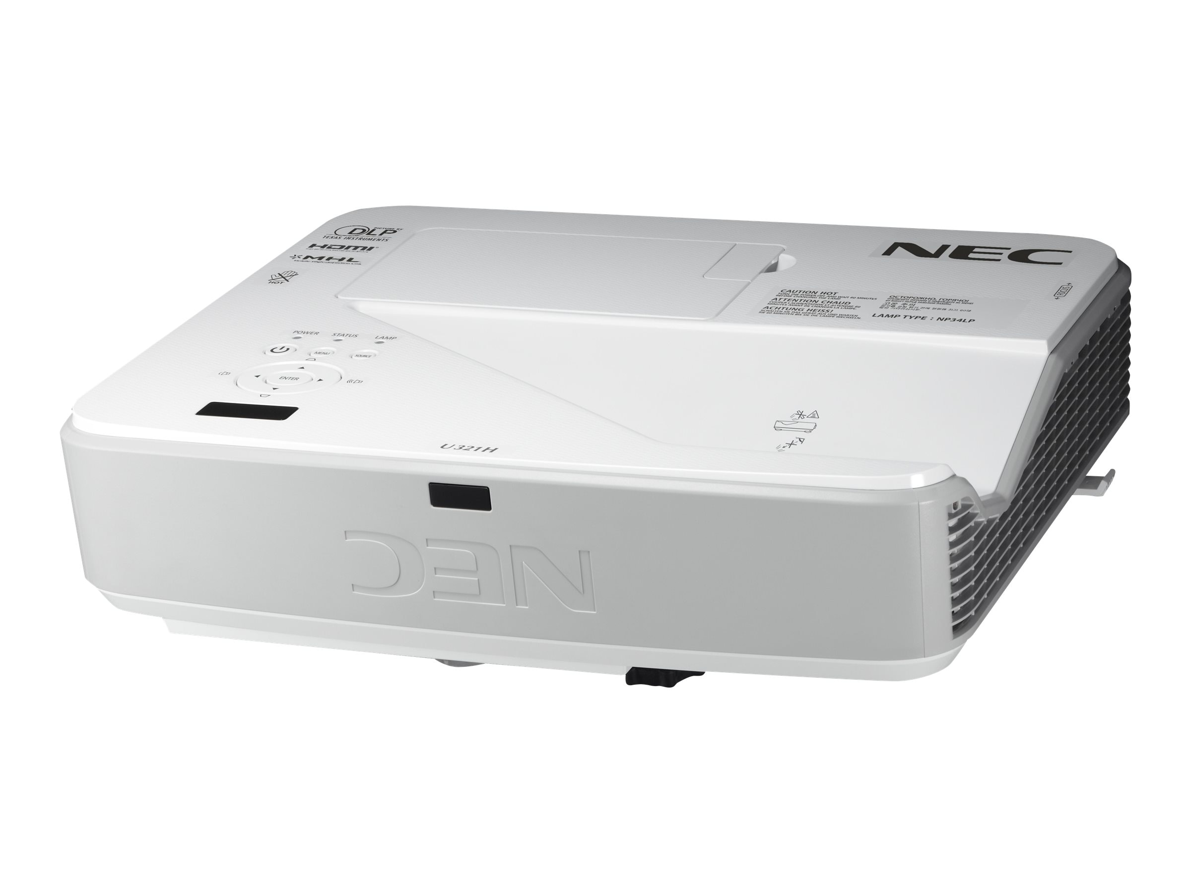 NEC U321H Full HD DLP Projector, 3200 Lumens, White