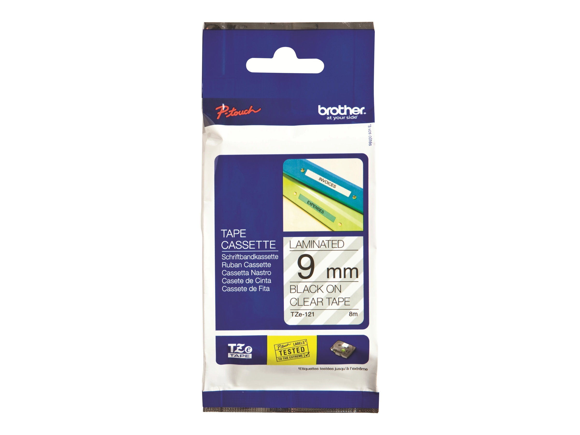 Brother 0.35 x 26.2' TZe121 Black on Clear Tape for P-Touch 8m, TZE-121