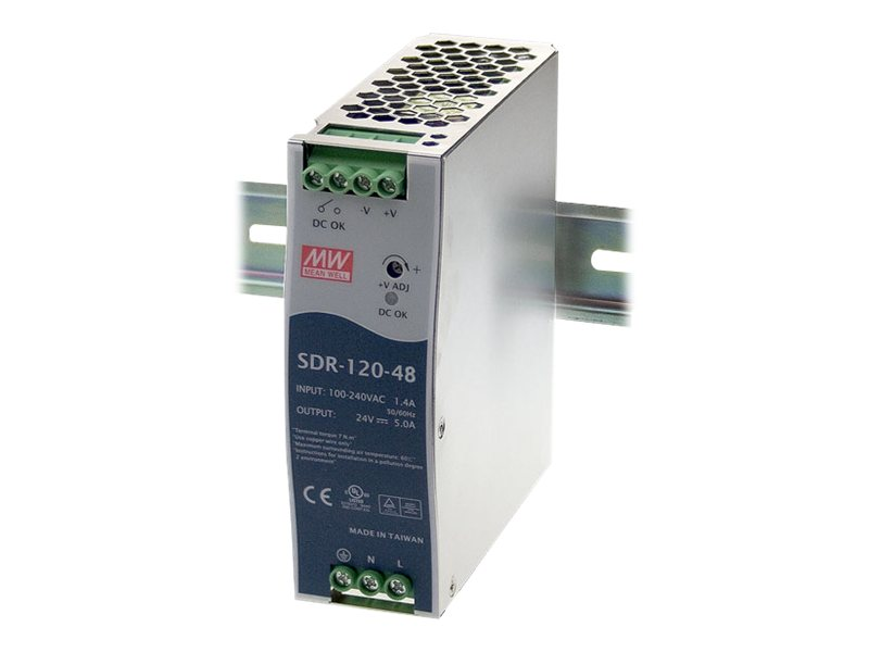 Black Box DIN Rail Power Supply, 120 Watts, 48VDC
