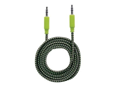 3.5mm M M Braided Audio Cable, Black Green, 1.8m
