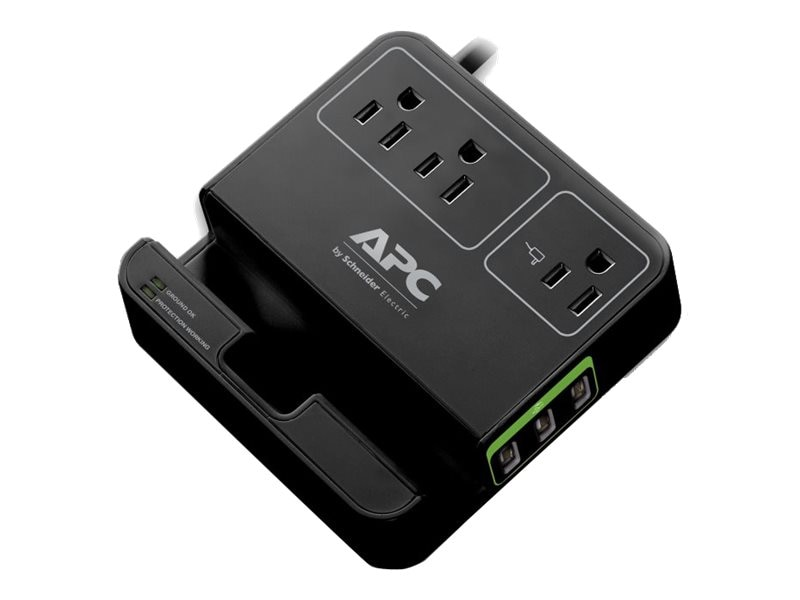 APC SurgeArrest Essential (3) Outlets w  (3) USB Charging Ports, Black (Canada), P3U3B-CA, 25616696, Surge Suppressors