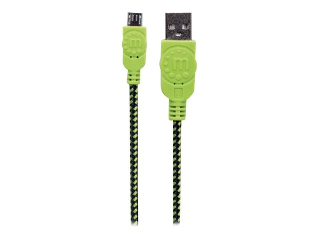 Manhattan USB Type A to Micro B Braided Cable, Black Green, 6ft