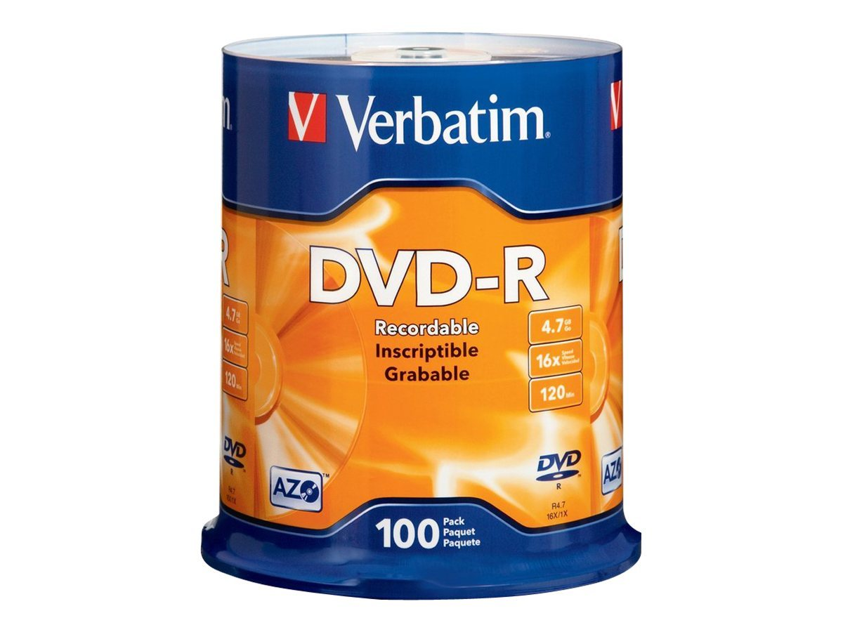 Verbatim 16x 4.7GB Branded DVD-R Media (100-pack Spindle)