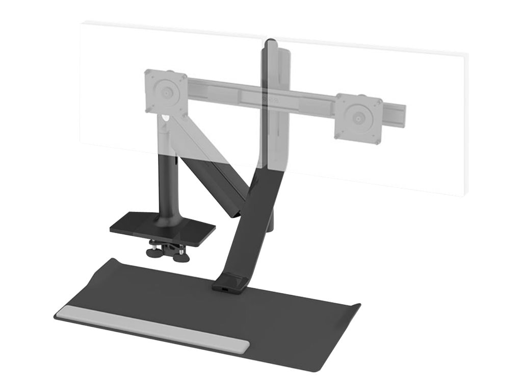 Humanscale QuickStand Lite, Standard Crossbar, Clamp Mount, Black with Black Trim