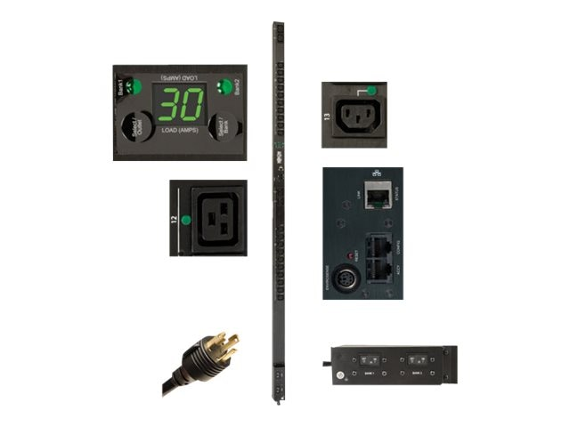 Tripp Lite Switched PDU 208V-240V 30A 0U RM L6-30P C13 C19  Outlet Level Metering, PDUMVR30HVNET, 15254636, Power Distribution Units