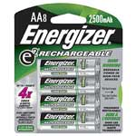 Energizer Battery, NiMH Rechargeable AA 2450mAh (8-pack)