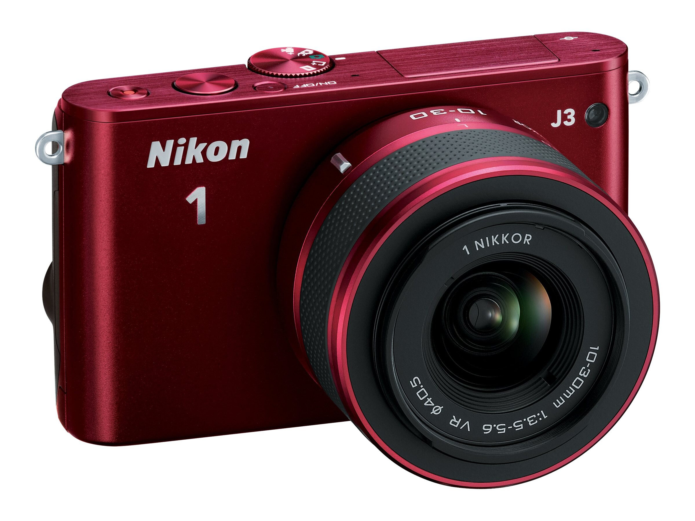Nikon J3 Interchangable Lens Digital Camera, 14.2MP, Red with 10-30mm Lens