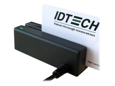 ID Tech MiniMag II Card Reader, KBW, Tracks 1 2 3, Black, IDMB-333133B