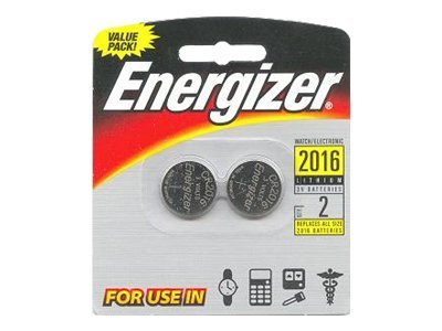 Energizer Battery, Lithium 2016 Watch Coin-type 3V 90mAh (2-pack), 2016BP-2, 9567644, Batteries - Other