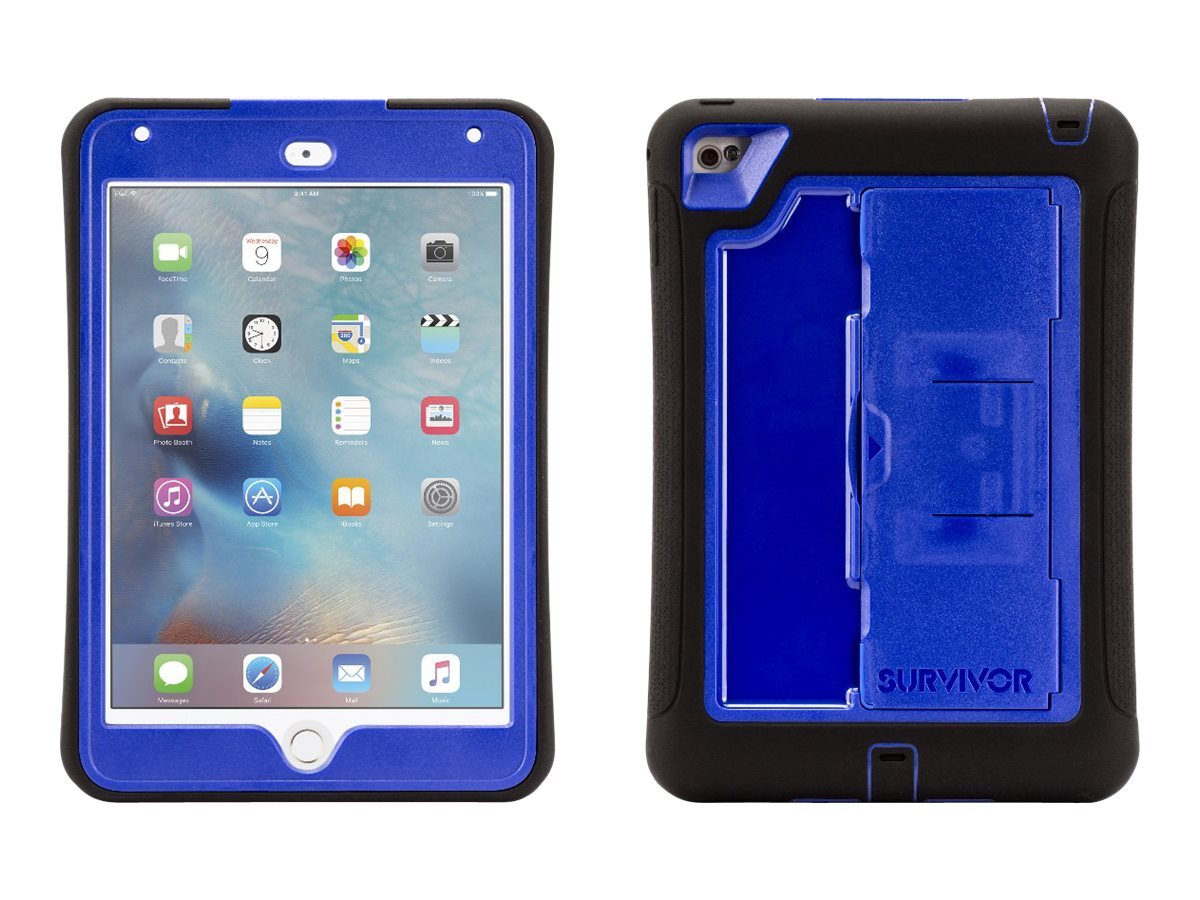 Griffin Survivor Slim Military Duty Anti-Shock Case w  Stand for iPad mini 4, Black Blue