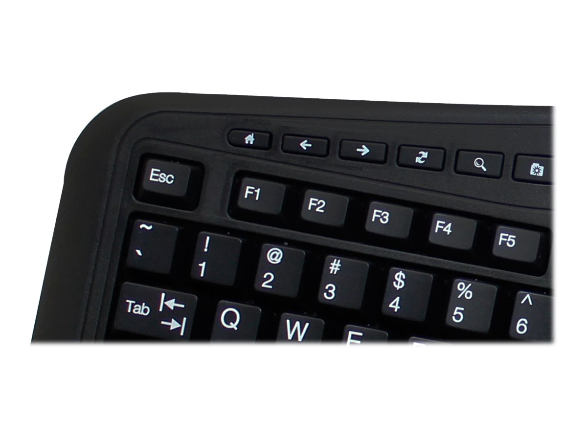 Adesso Tru-Form Media 3500 2.4GHz Wireless Ergonomic Trackball Keyboard, WKB-3500UB