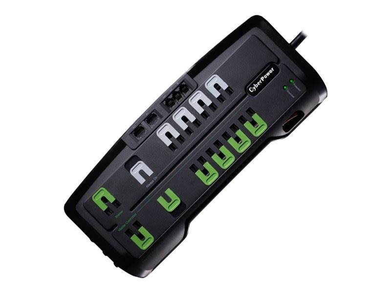 CyberPower Home Theater Surge Protector 12-Outlets (4 Energy Saving) 3150 Joules RJ-45 RJ-11 Coax, Black, CSHT1208TNC2G