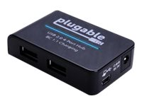 Plugable USB 2.0 4-Port Hub w  12.5W Power Adapter, BC 1.2 Charging