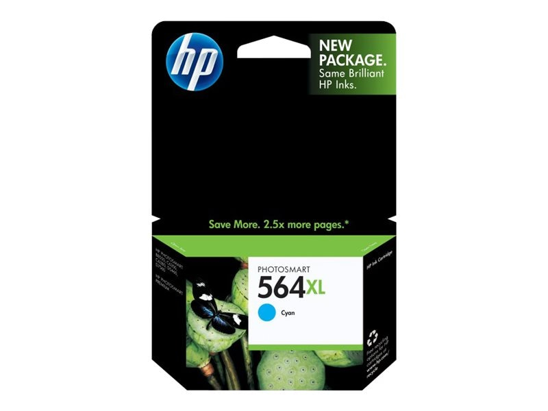 HP 564XL (CB323WN) High Yield Cyan Original Ink Cartridge, CB323WN#140