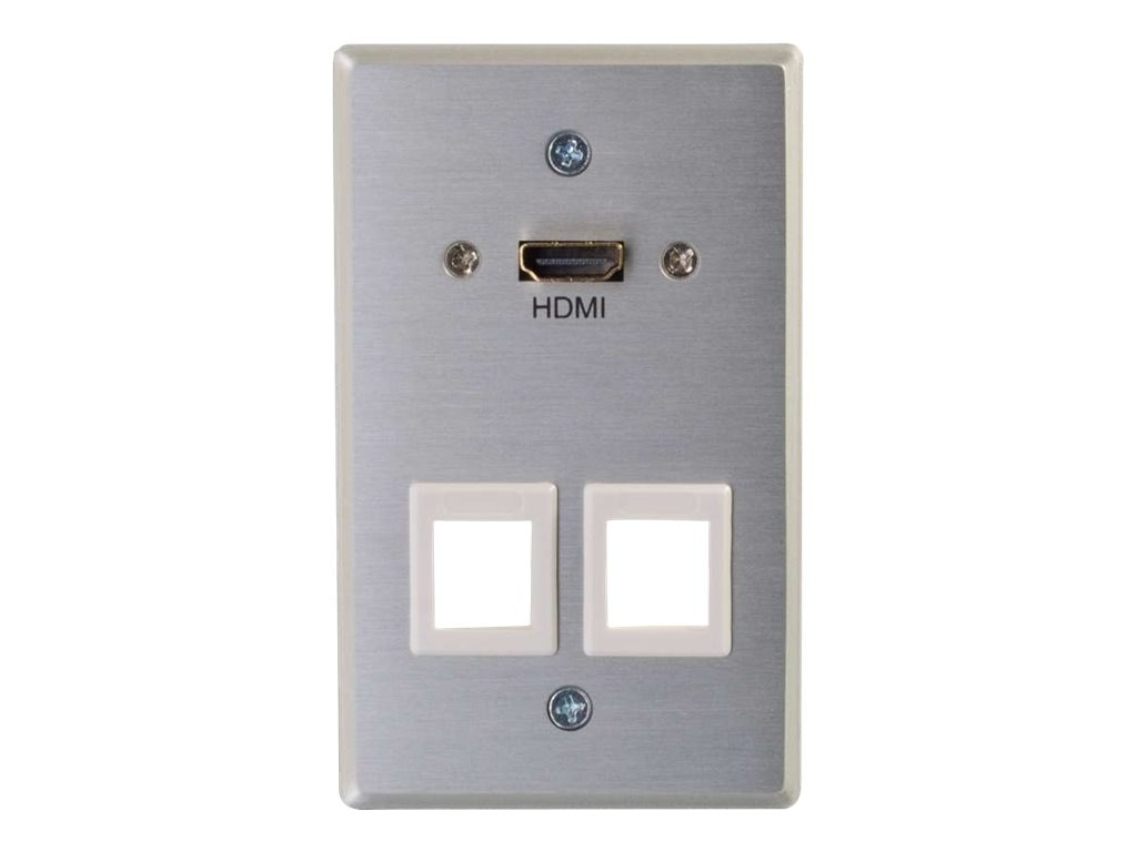 C2G RapidRun HDMI Single Gang Wall Plate Transmitter w  (2) Keystones, Aluminum, 60158, 31440973, Premise Wiring Equipment