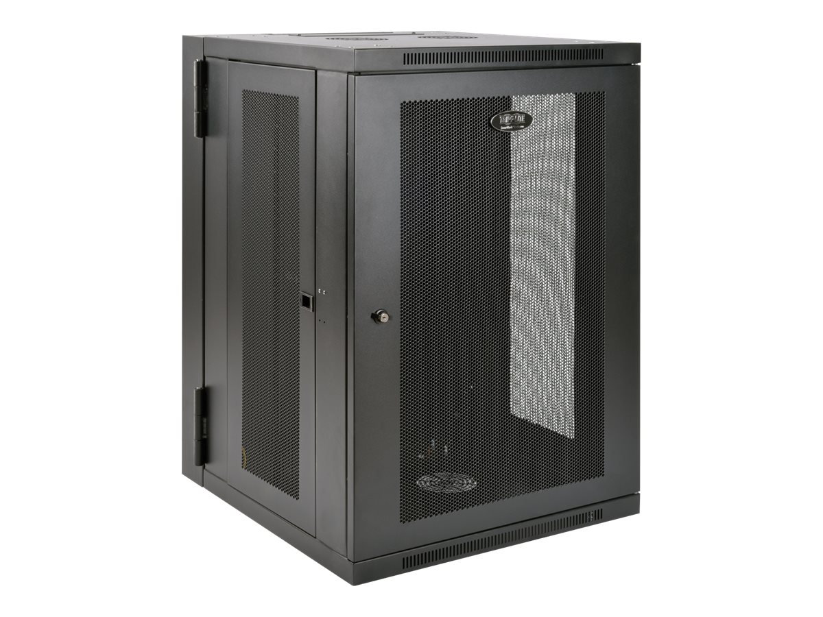 Tripp Lite SmartRack 18U UPS-Depth Wall-Mount Rack Enclosure Cabinet, Hinged Back